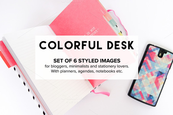 Photo Bundle Bloggers Colorful Desk