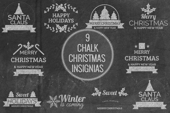 Chalk Christmas Insignias