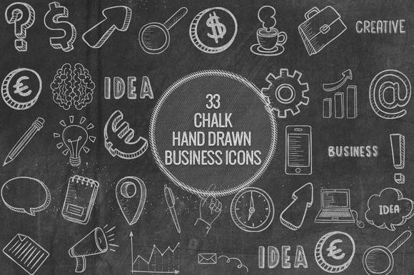 Chalk Hand Drawn Business Icons