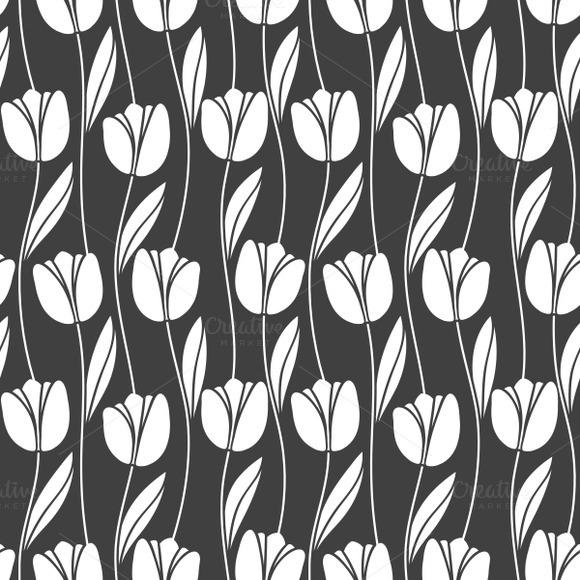 Monochrome Tulips Seamless Pattern