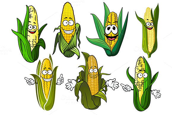 Cartoon Corn Cobs With Golden Grains