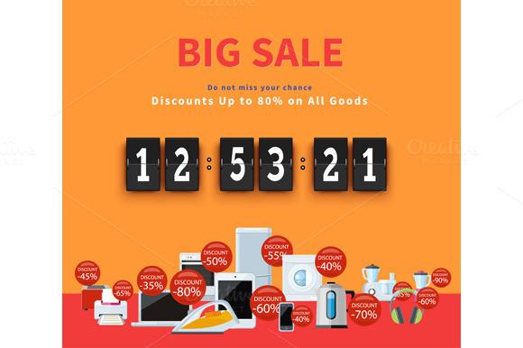 Countdown Big Discounts Flat Design