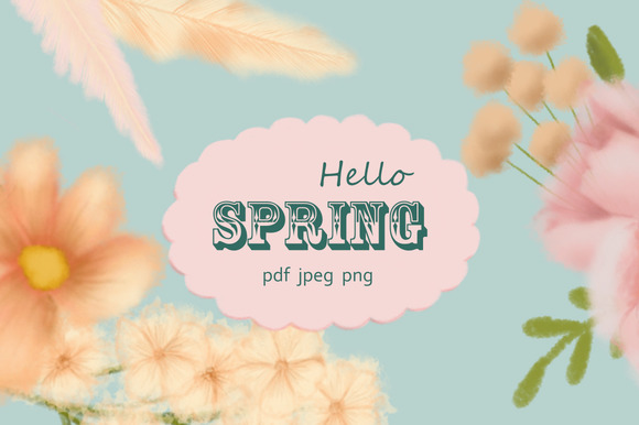 Hello Spring Flower Clipart
