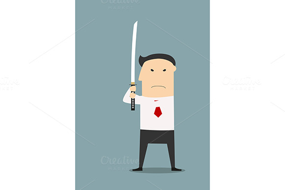 Businessman Holding Katana Sword