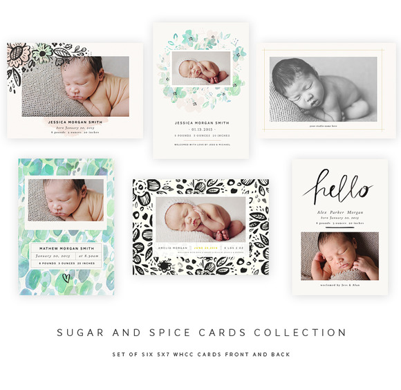 Sugar And Spice 5x7 Birth BUNDLE