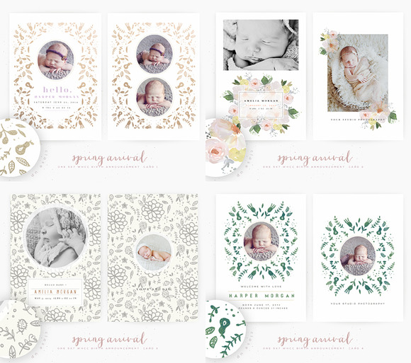 Spring Arrival Birth Announcement