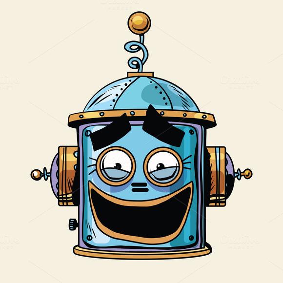 Emoticon Funny Laughing Emoji Robot