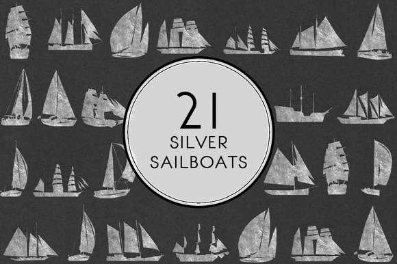 Silver Sailboats