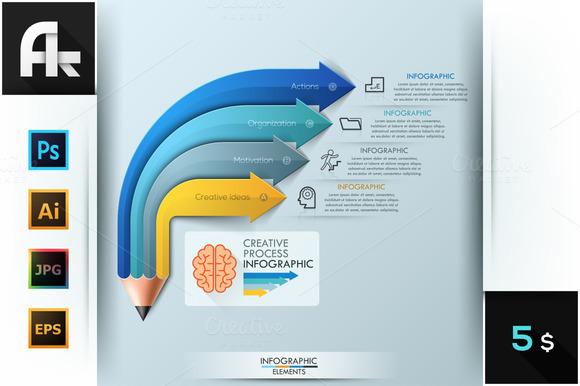 Pencil Arrow Infographics