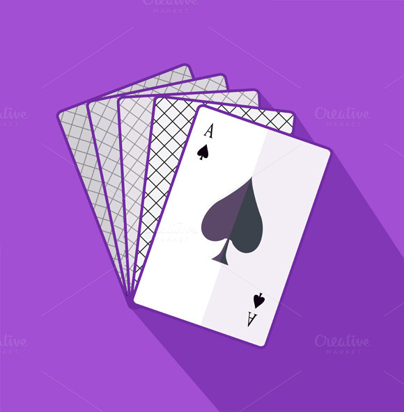 Ace Card Flat Design On Background