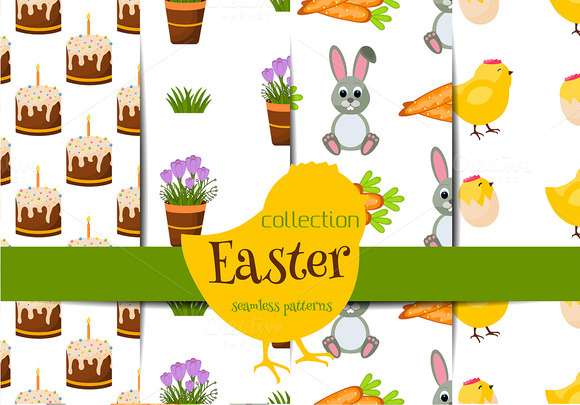 Happy Easter Seamless Patter Set
