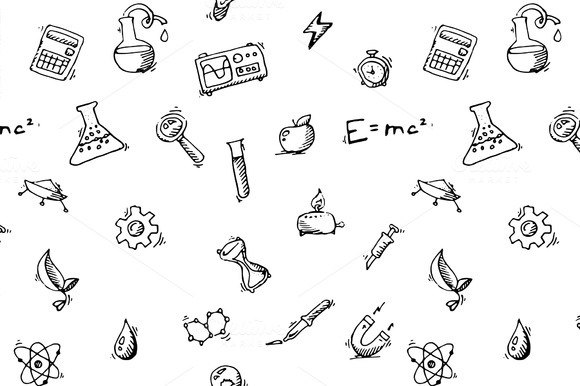 Seamless Pattern Science Icons