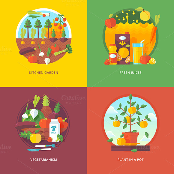 Set Of Fruit And Vegetables Concepts