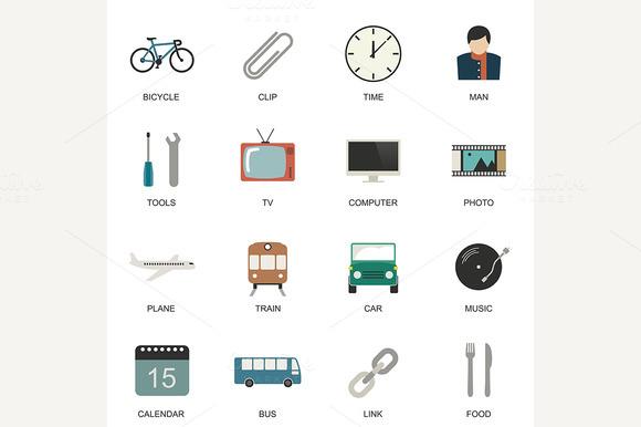 Set Of Universal Flat Icons