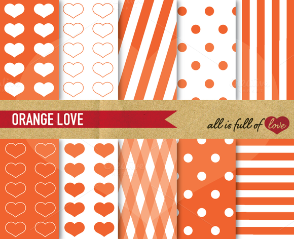 -60% Orange Love Digital Paper Set