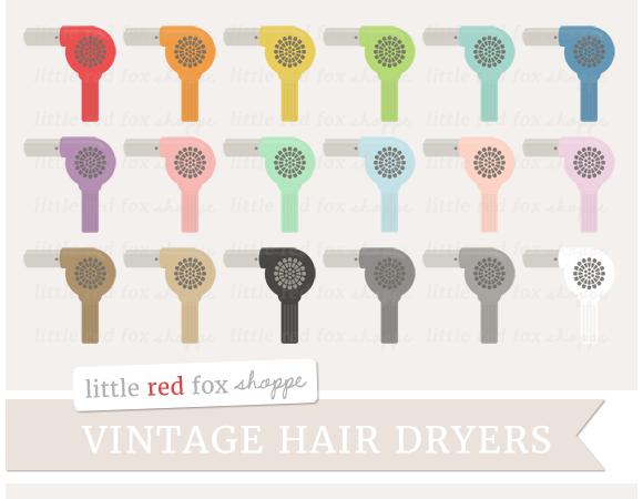 Vintage Hair Dryer Clipart
