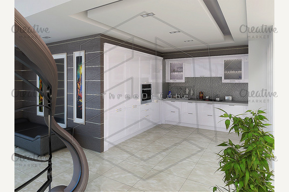 Stock Graphic Hall And Kitchen Combined Interior
