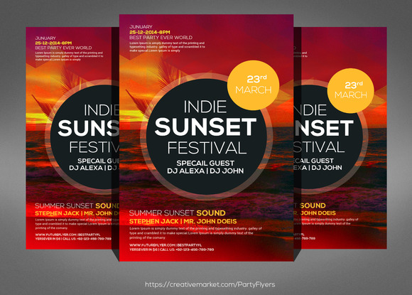 Summer Sunset Flyer Psd Template