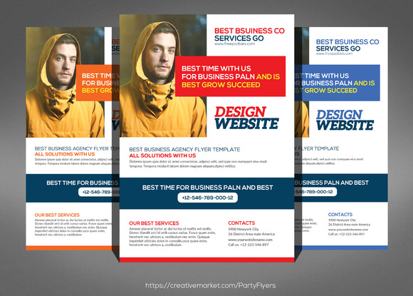 Flat Website Design Flyer Template