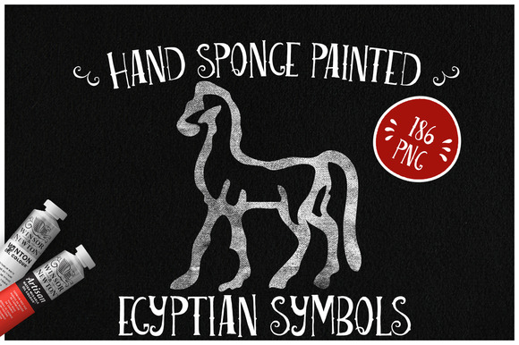 Sponge Painted Egyptian Symbols