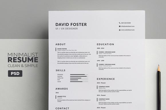 minimalist style resume template free  u00bb designtube