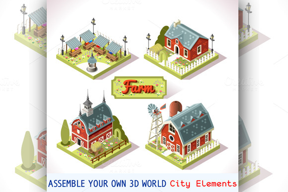 Farm Tiles City Map Isometric