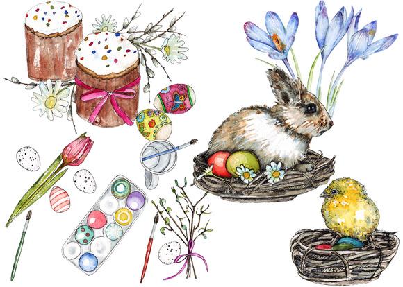 Happy Easter Watercolor Set