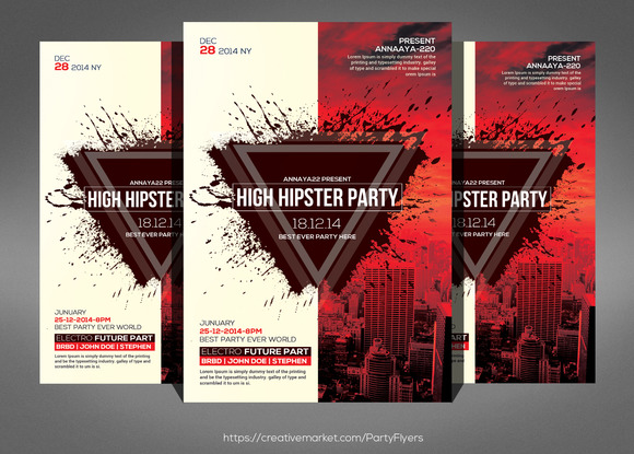 Hipster Future Party Flyer Template