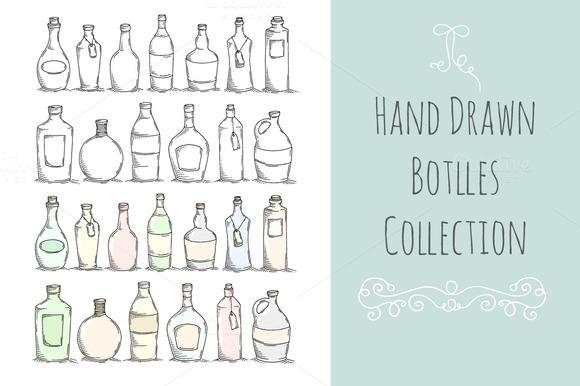 Set Of Doodle Bottles