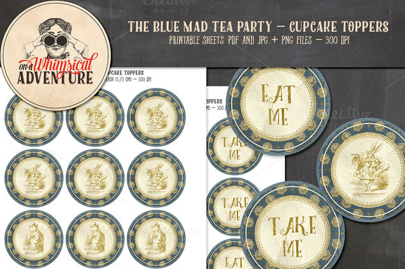 Mad Tea Party Cupcake Toppers Blue