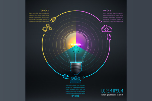 Colorful Bulb With Icon 6