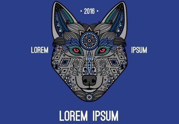Boho Style Wolf Logo