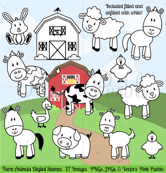 Farm Animals Digital Stamps