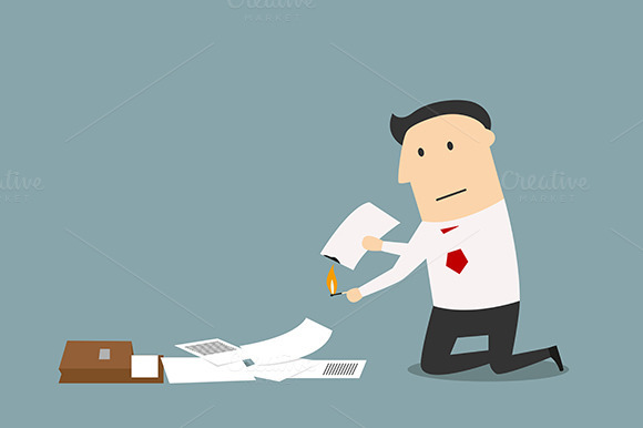 Businessman Burning Up Documents