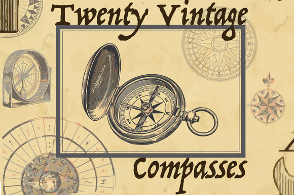 20 Antique Vintage Compass Drawings