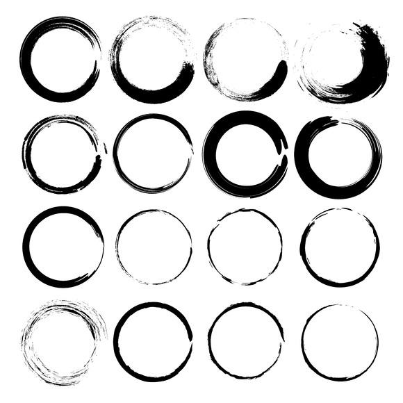 Vector Set Of Grunge Circle Brush