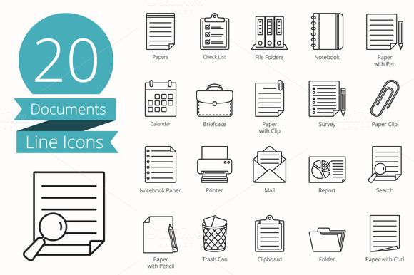 20 Documents Line Icons
