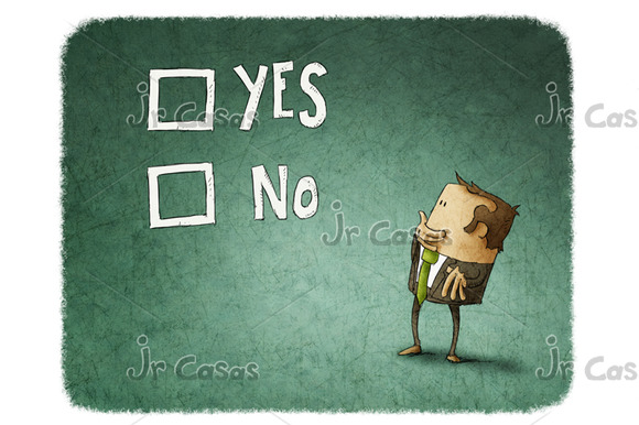 Man Take A Decision Between Yes Or No