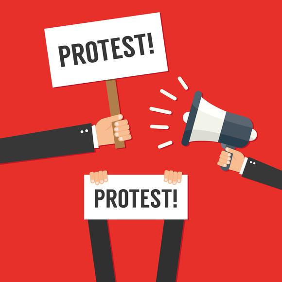 Illustration - CreativeMarket Hands holding protest signs ... : political logo design : Top Logo Design