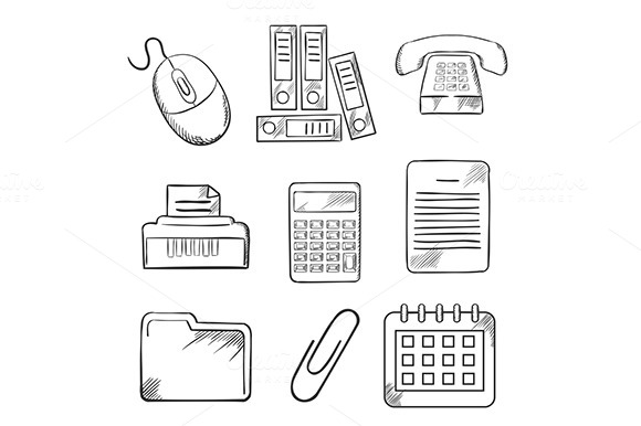Sketched Office And Business Icons