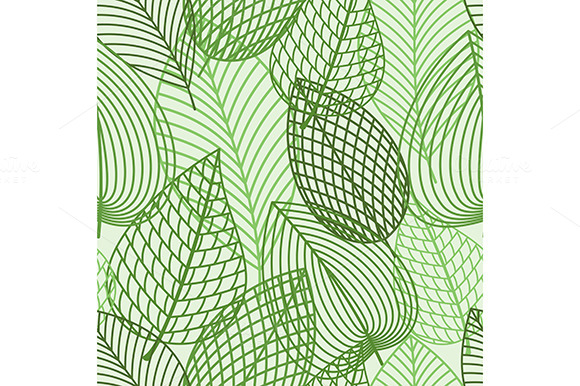 Seamless Pattern Of Outline Leaves