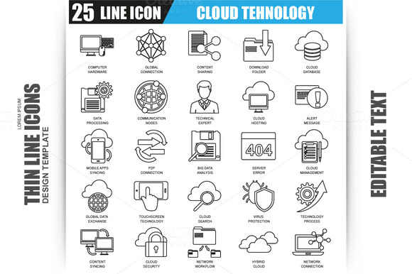 Thin Line Cloud Tehnology Icons