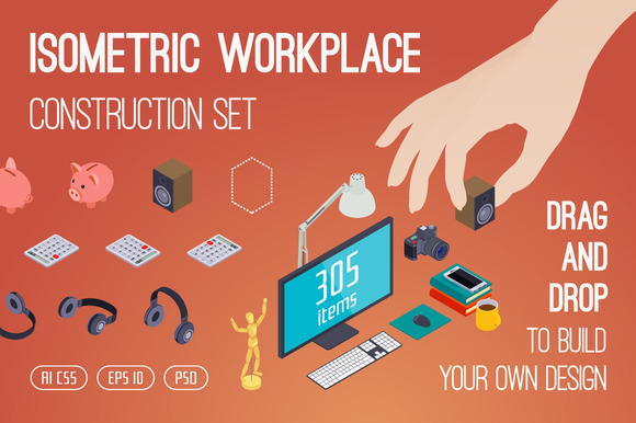 Isometric Workplace Construction Set