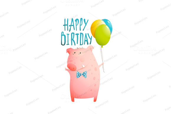 Pig Greeting Happy Birthday Card