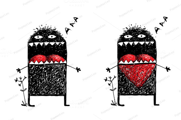 Monster In Love With Red Heart