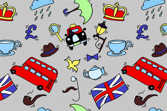 Pattern With London Touristic Icons
