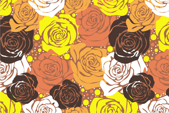 Seamless Pattern Yellow Roses