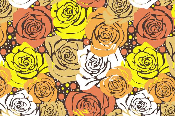 Seamless Pattern Yellow Roses-II