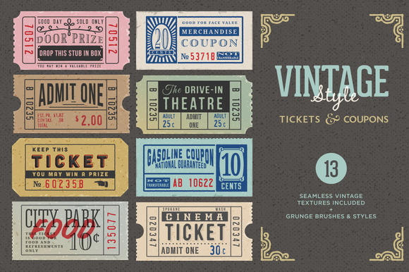 Vintage Tickets Coupons Bundle