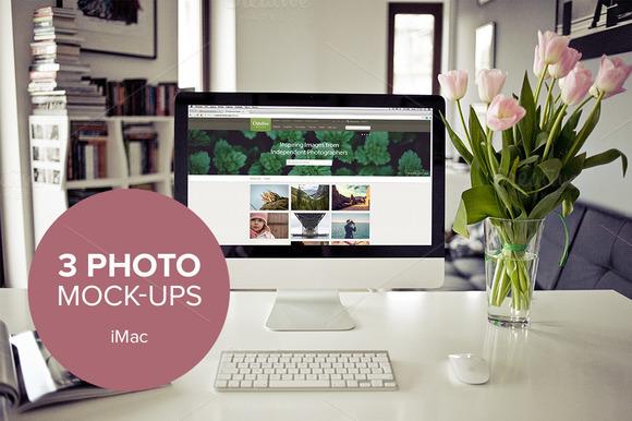 3x Photo Mockup With IMac